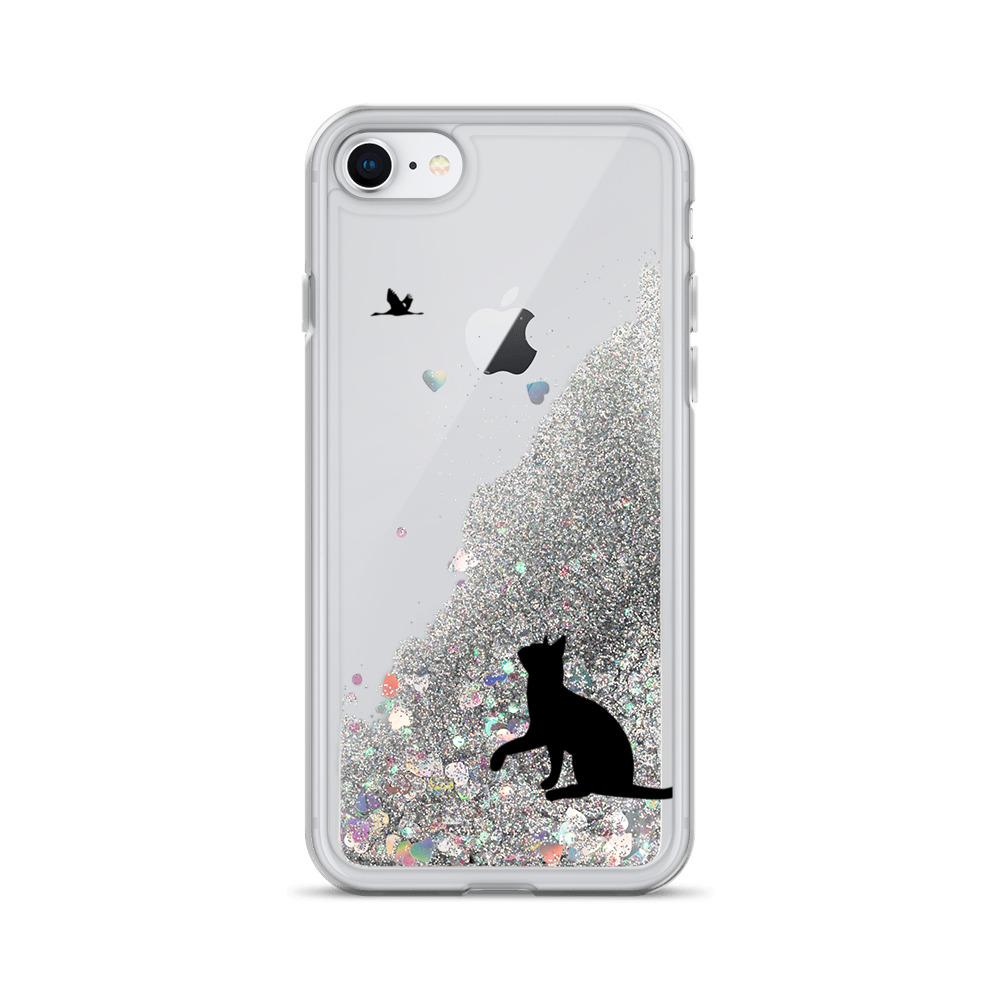 black cat liquid glitter iphone case