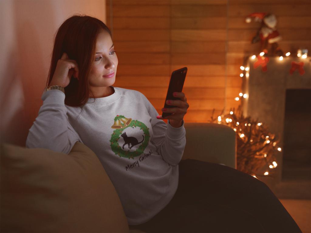 christmas cat sweatshirt gift idea