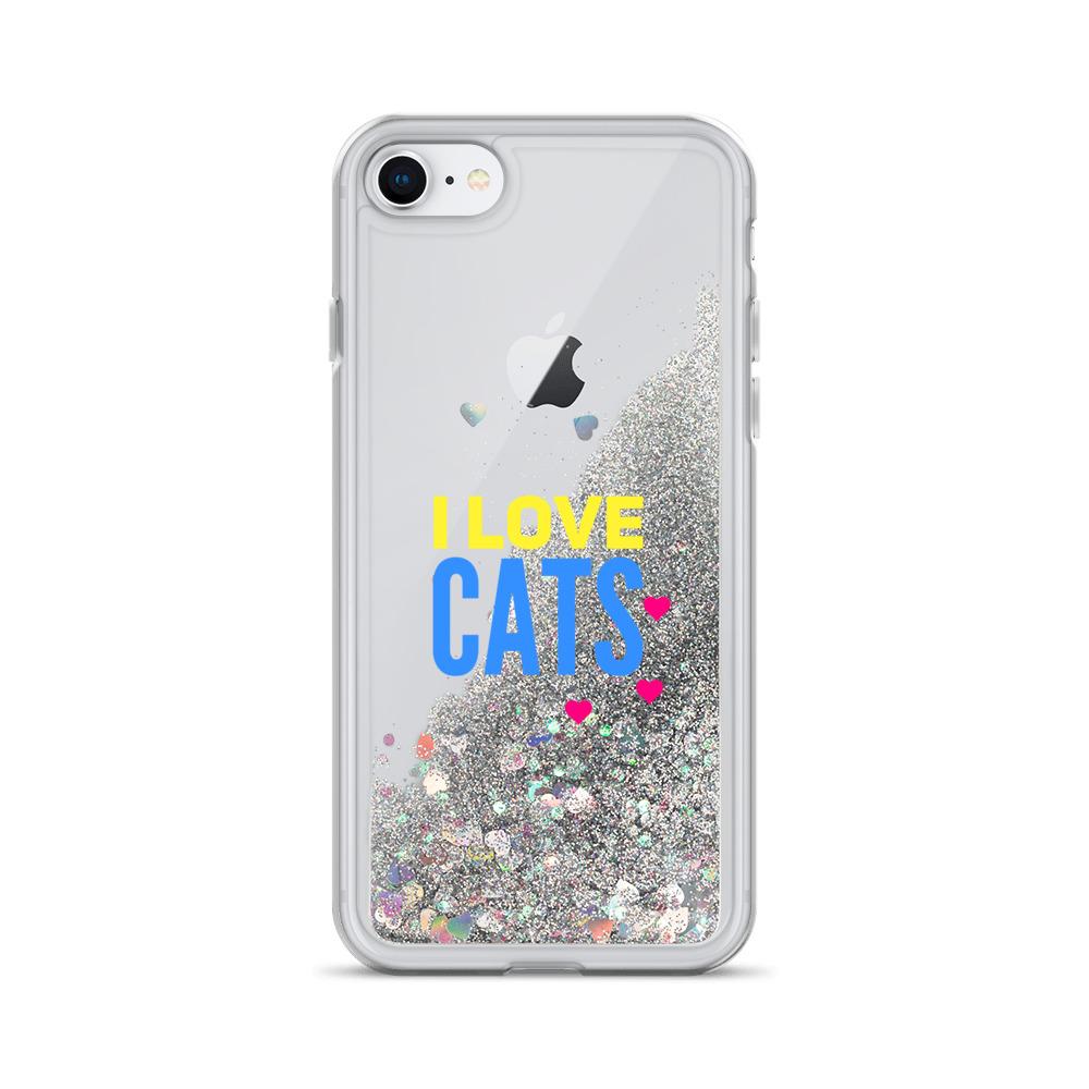 i love cats liquid glitter iphone