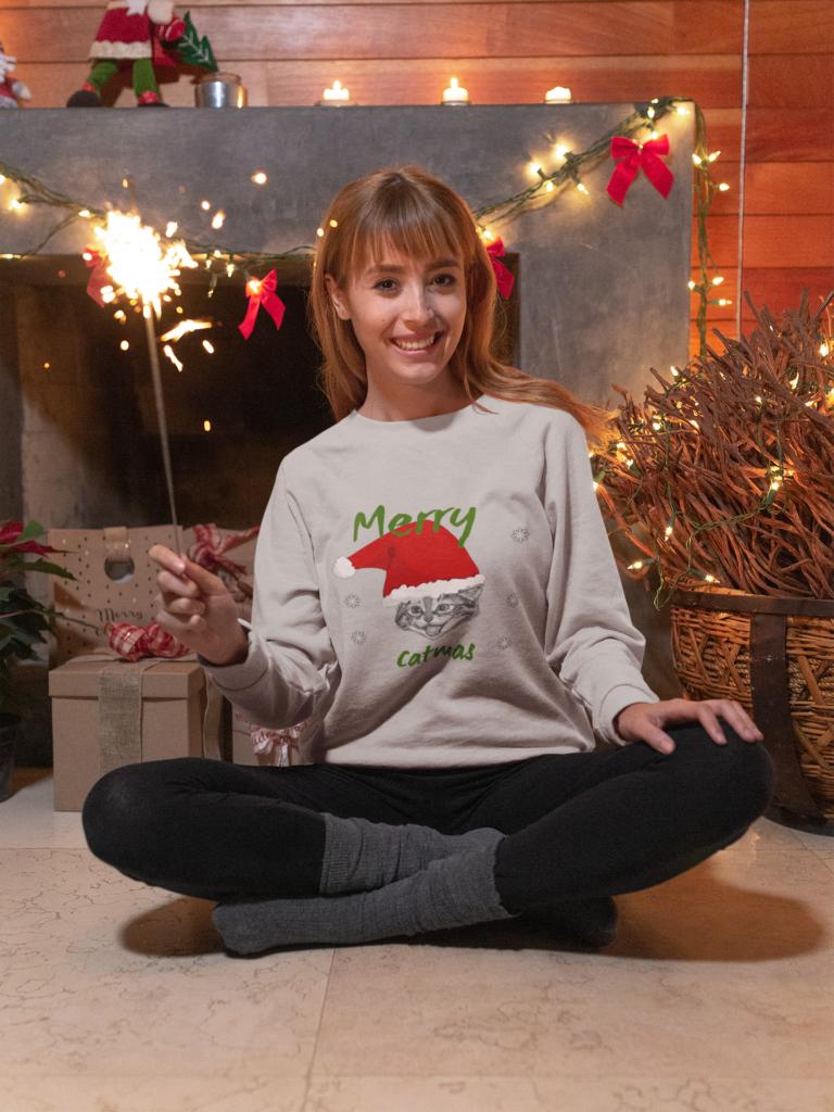 grey christmas cat sweatshirt