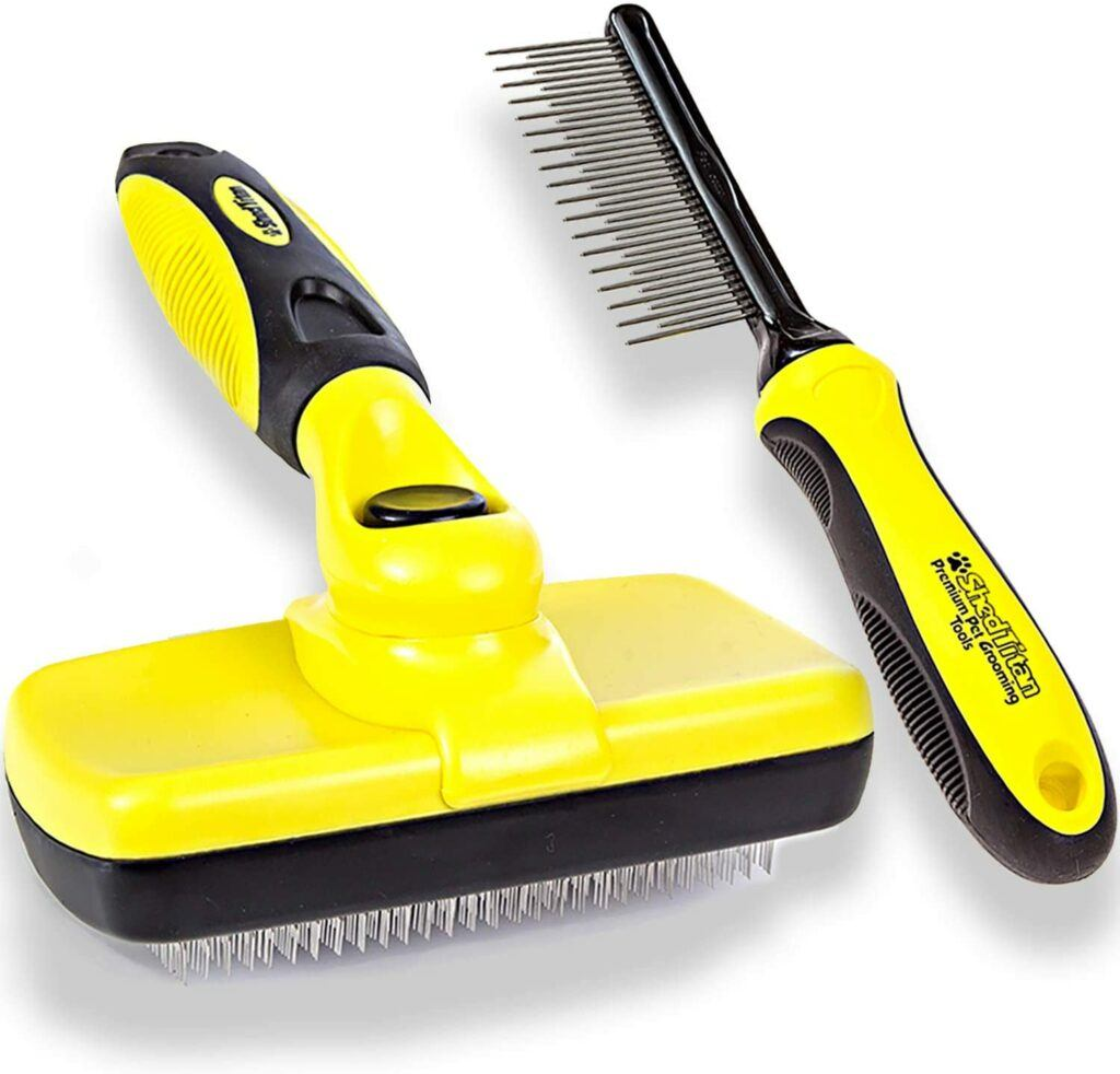 Shed Titan self cleaning  slicker brush and grooming comb