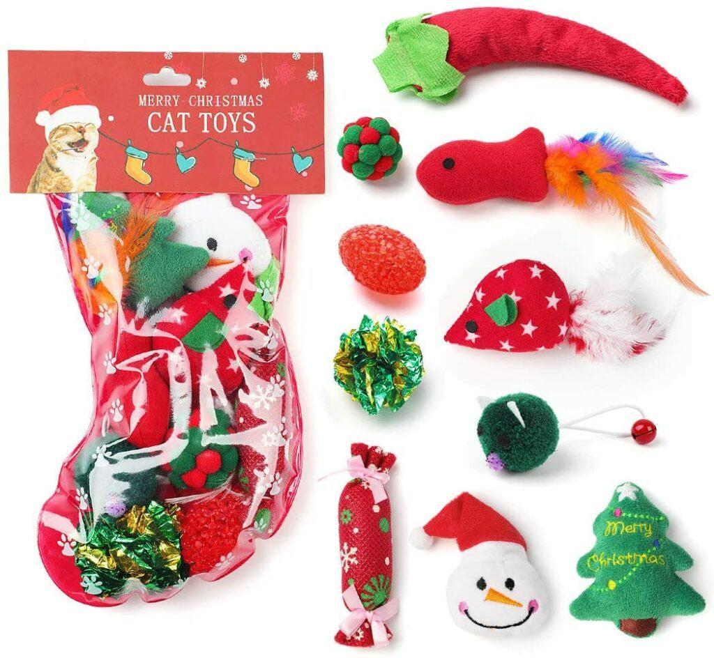 legendog 10 pcs cat toys christmas stocking
