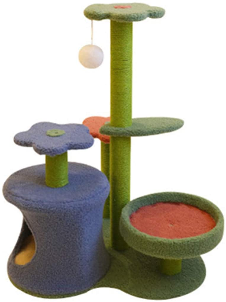 cat tree multi level scratching post with hidey hole