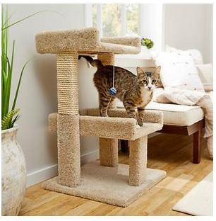 frisco real carpet wooden cat tree