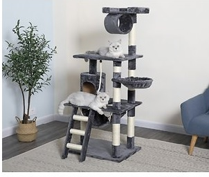 go pet club 62 in faux fur cat tree with ladder